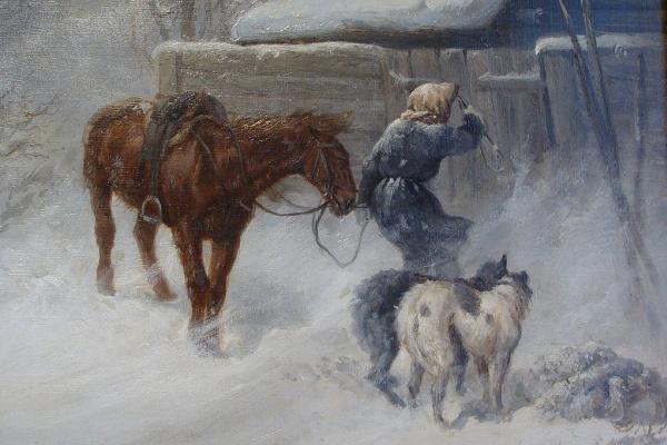 Николай Егорович Сверчков. Охотник, застигнутый зимней вьюгой.