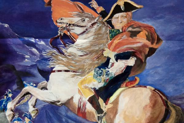 Дмитрий Юрьевич Буянов. Оригинальная картина-портрет «Дональд Трамп на коне».Политическая сатира.