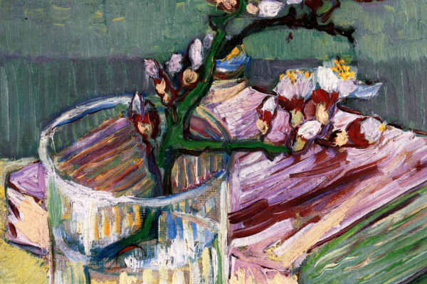 Vincent van Gogh. Branch of flowering almond in a vase and book