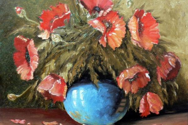 Sergei Nikolayevich Khodorenko-Zatonsky. Poppies in blue vase