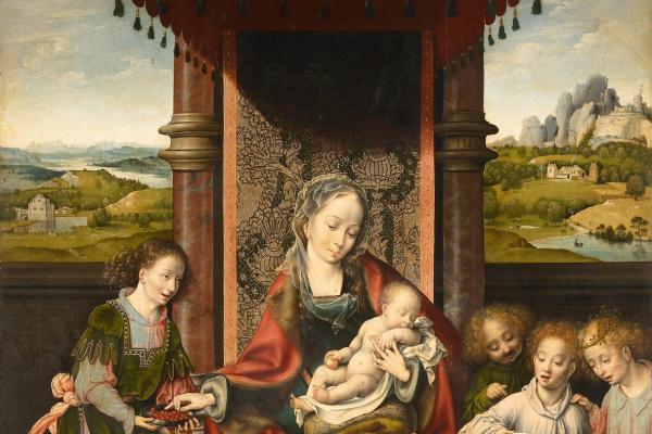 Йос ван Клеве. Мадонна с младенцем и ангелами. около 1525