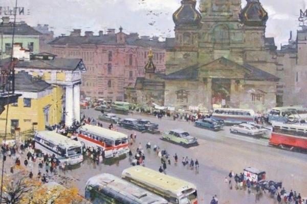 """Михаил Александрович Канеев. """"Ленинград. На бывшей Сенной"""""""