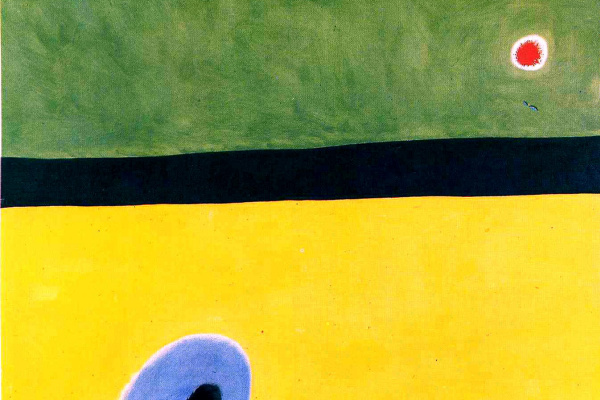 Joan Miro. The wings of the lark, surrounded by Golden — blue, join the heart of the poppy sleeping on a diamond-studded meadow