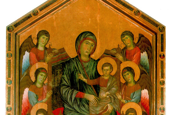 Pepo Cheney Dee. The virgin and child enthroned surrounded by angels