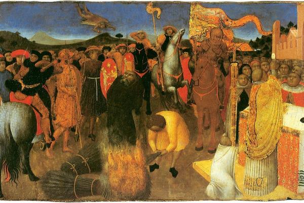 Сассетта. Алтарь Евхаристии. Смерть еретика на костре (Сожжение еретика)