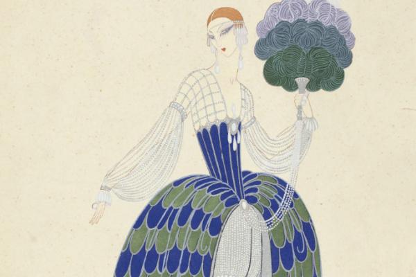 Роман Петрович Тыртов (Эрте). Дизайн сине-серебристого вечернего платья