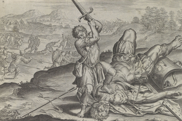 Hans Collaert. David beheads Goliath