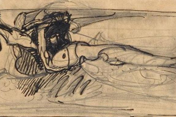 Mikhail Aleksandrovich Vrubel. A sketch for the painting 'The Demon Downcast'