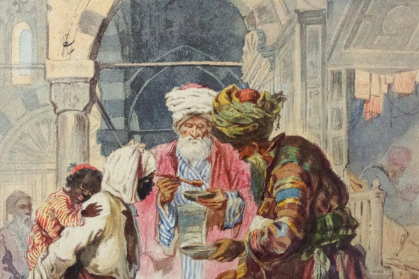 """Alexander Nikolaevich Beklemishev (Reggio). On the street East of the city. The seller pilaf. Copy of lithograph by A. Preziosi """"Risotto"""""""
