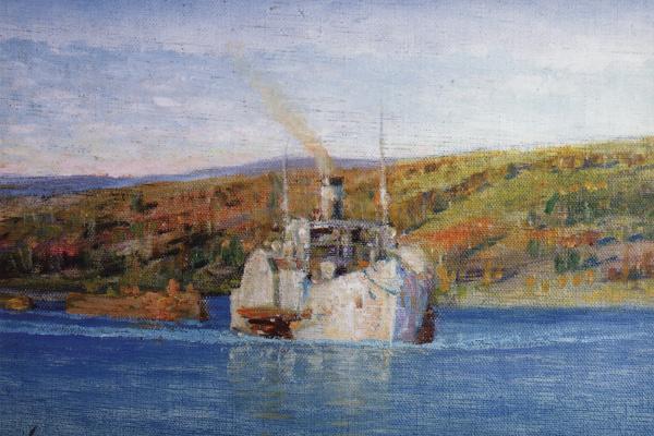 """Vasily Dmitrievich Polenov. Oka. The steamship """"Vladimir"""", converted into a tug"""