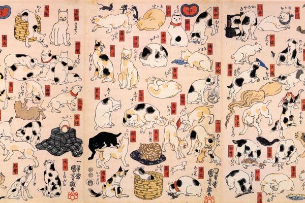 Utagawa Kuniyoshi. Triptych: Cat, representing the 53 stations of the Tokaido