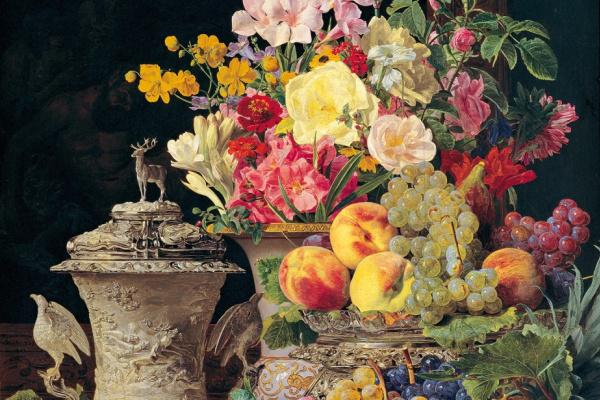 Ferdinand Georg Waldmüller. Stillleben mit Früchten, Blumen und silbernem Pokal