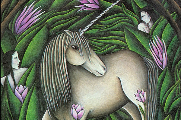 Laurie Stanley. Unicorn in flowers