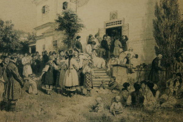 Ilya Efimovich Repin. During the Mass at Tsvintari (in the Churchyard) 1879 A. Garin Collection