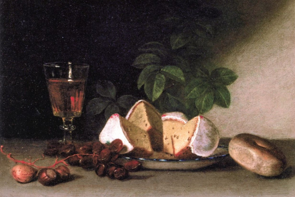 Raphaelle Peale. Still life: wine, cakes and nuts