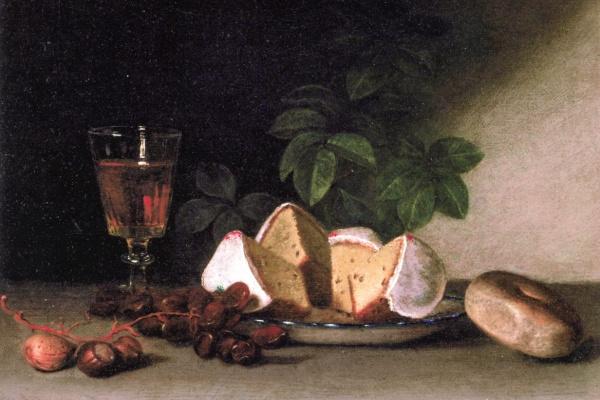 Рафаэль Пил. Натюрморт: вино, кексы и орехи