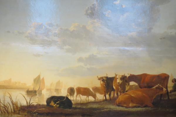 Альберт Якобс Кейп. Коровы на берегу реки