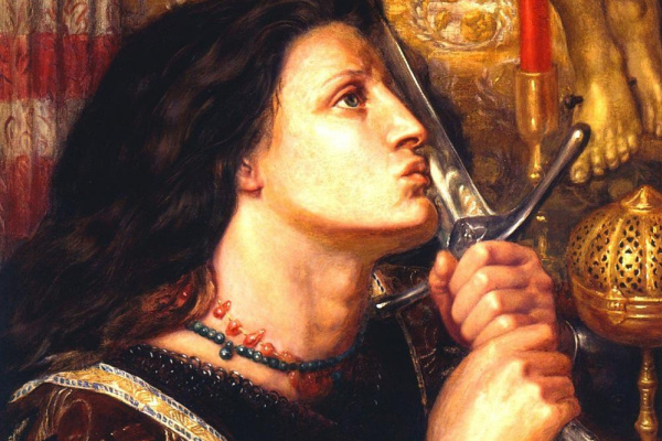 Dante Gabriel Rossetti. Joan of Arc kisses the sword of salvation