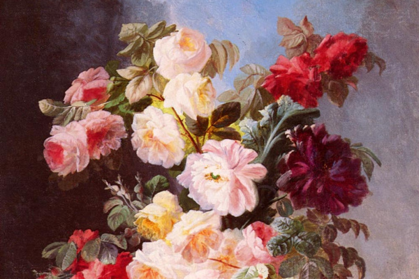 Жорж Виард. Натюрморт с розами и пионами в синей вазе