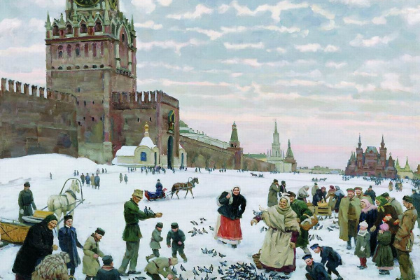 Константин Федорович Юон. Кормление голубей на Красной площади.