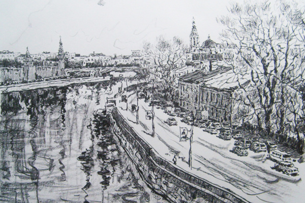 Dmitry Vladimirovich Sazhnov. Cityscape of Moscow with a pencil