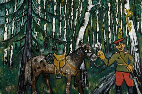Mikhail Larionov. Soldier in the forest