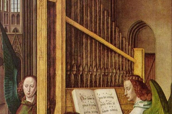Хуго ван дер Гус. Коленопреклоненный сэр Эдуард Бонкил перед ангелом, играющим на органе (часть диптиха со Святой Троицей)