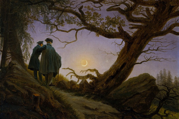 Caspar David Friedrich. Two men contemplating the moon