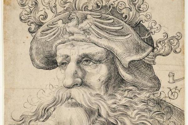 Урс Граф. Голова бородатого мужчины в шляпе
