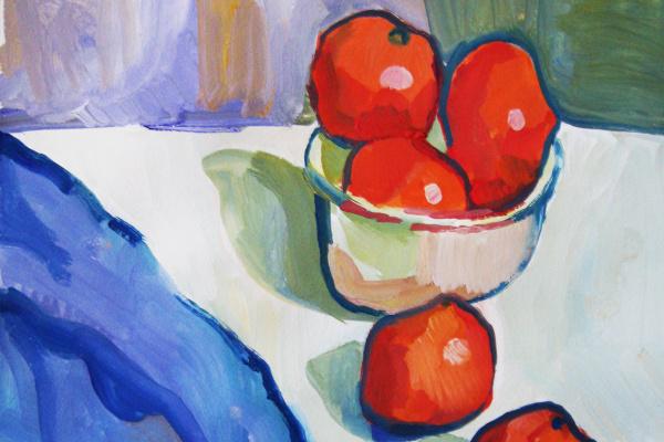 Monika Lemeshonok. Still life with tangerines