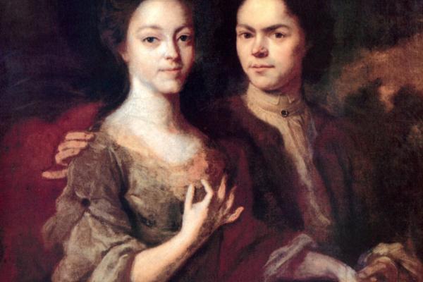 Андрей Матвеевич Матвеев. Автопортрет с женой Ириной Степановной