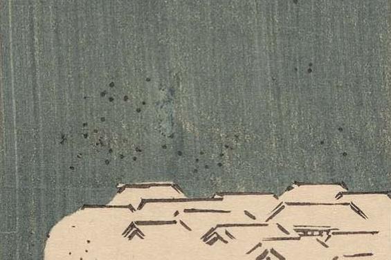 Утагава Хиросигэ. Заснеженные ивы в Новой Ёсиваре