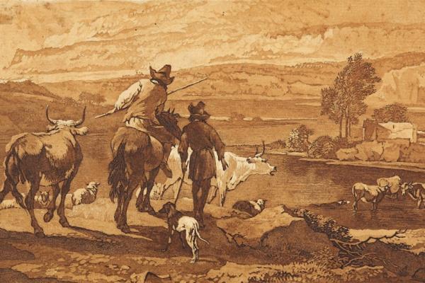 Вильгельм Александр Вольфганг фон Кобелль. Пейзаж с пастухами по мотивам картины Николаса Берхема