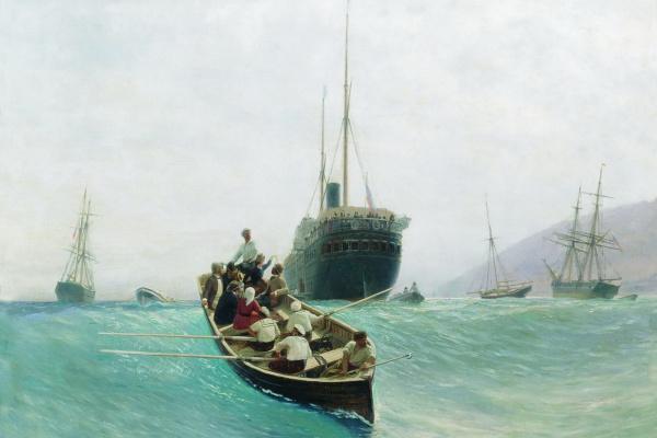 Лев Феликсович Лагорио. Выгрузка пассажирского судна. Лодка в море. 1888