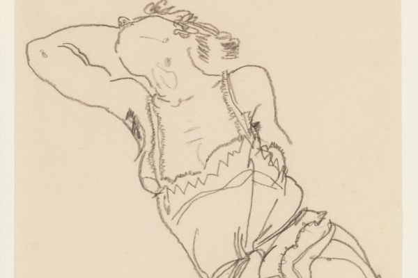 Egon Schiele. Reclining Model in Chemise and Stockings