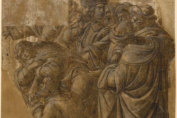 "Sandro Botticelli. A conversation between men and two wise men. Two fragments to the ""Adoration of the Magi"""