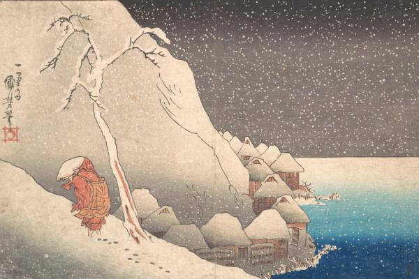 Утагава Куниёси. Ночное путешествие в метель