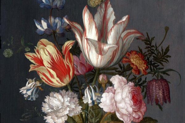 Балтазар ван дер Аст. Цветы в китайской вазе и бабочка на грозди винограда