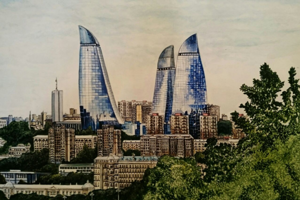 "Кенан Мамедов. ""Flame tower in Azerbaijan"""