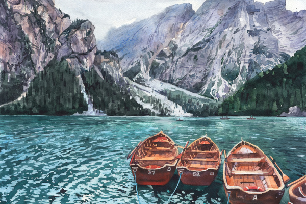 (no name). Boats in the mountains