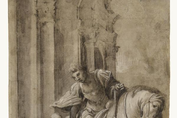 Лоренцо Лотто. Святой Мартин делит свой плащ с нищим