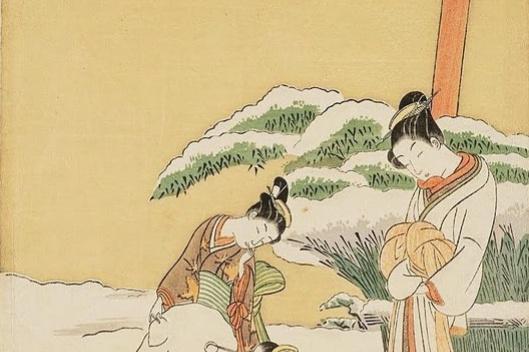 Судзуки Харунобу. Куртизанка наблюдает, как камуро лепят снежного пса