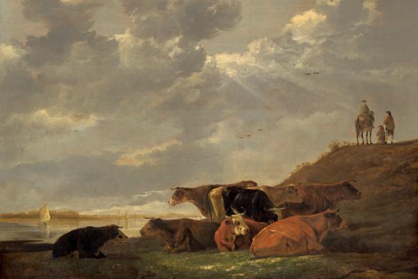 Альберт Кейп. Речной пейзаж с коровами