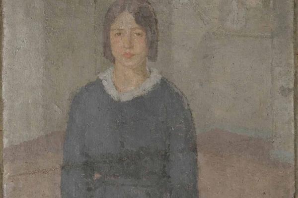 Гвен Джон. Девушка в синем платье и с кусочком шитья в руках