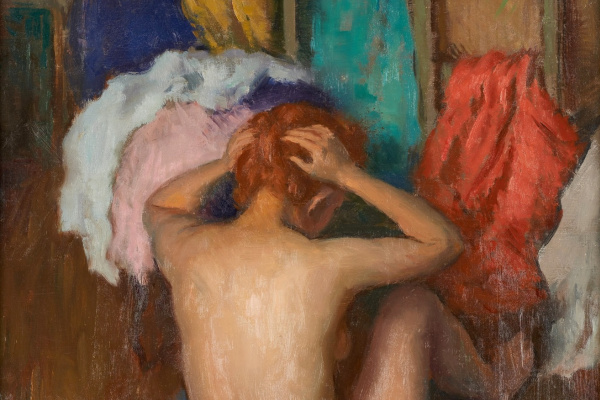 Леонид Исаакович Фрешкоп. Девушка, моющая свои волосы. 1934