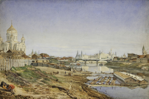 Nikolai Egorovich Makovsky. View of the Cathedral of Christ the Saviour, the Stone bridge and the Kremlin embankment of the Moscow river
