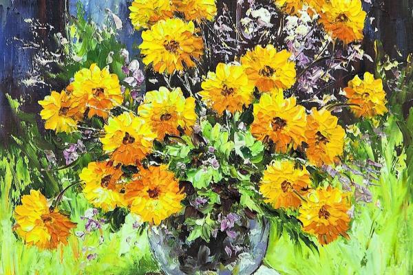 Andrzej Wlodarczyk. Yellow marigolds in the garden