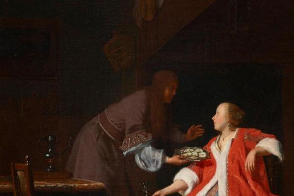 Jacob Lucas Ochtervelt. The Oyster Meal