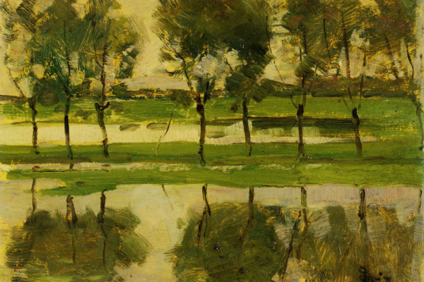 Пит Мондриан. Восемь молодых деревьев отражаются в воде