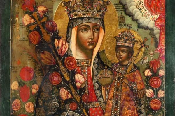 Русская Икона. Богоматерь Неувядаемый Цвет